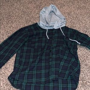 Blue and Green Hooded Flannel